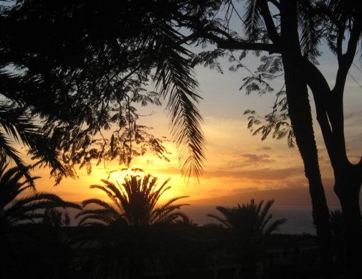 Coucher de soleil sur l'île de Tenerife